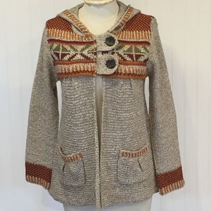 ROYAL ROBBINS Oatmeal Rust Hooded Cardigan XS